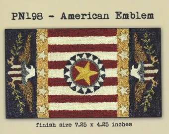 Punch Needle Pattern, American Emblem, Primitive Decor, Patriotic, American Eagle, Flag, Teresa Kogut, Punch Needle Embroidery, PATTERN ONLY