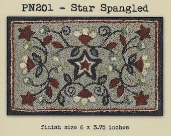 Punch Needle Pattern, Star Spangled, Primitive Decor, Patriotic, Americana, Flag, Teresa Kogut, Punch Needle Embroidery, PATTERN ONLY