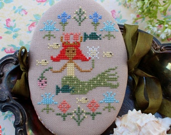 Counted Cross Stitch Pattern, Mermaid's May Pinbook, Mermaid, Beach Decor, Pin Book, Cottage Chic, Lindy Stitches, PATTERN ONLY