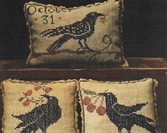 Cross Stitch Pattern, A Murder...of Crows, Cross Stitch Sampler, Halloween Decor, Black Crows, Primitive Decor, La-D-Da, PATTERN ONLY