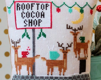 Counted Cross Stitch Pattern, Rooftop Cocoa Shop, Reindeer, Christmas Decor, Christmas Ornament, Ornament, Lindy Stitches, PATTERN ONLY