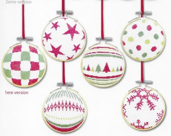 Counted Cross Stitch Pattern, Christmas Ornaments, Set 1 Ornaments, Christmas Decor, Hoop Ornaments, Snowflakes, Lili Points, PATTERN ONLY