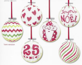 Counted Cross Stitch Pattern, Christmas Ornaments, Set 3 Ornaments, Christmas Decor, Hoop Ornaments, Snowflakes, Lili Points, PATTERN ONLY