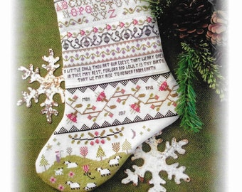 Counted Cross Stitch, Band Sampler Stocking, Primitive Sheep, Christmas Stocking, Christmas Sampler, Annie Beez Folk Art, PATTERN ONLY