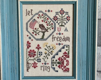 Counted Cross Stitch Pattern, Freedom Quaker, Patriotic Sampler, Americana, From the Heart, NeedleArt by Wendy, PATTERN ONLY
