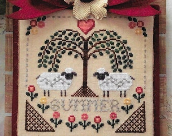 Counted Cross Stitch, Sheltering Tree, Summer, Sheep, Willow Tree, Summer Decor, Farmhouse Decor, Annie Beez Folk Art, PATTERN ONLY