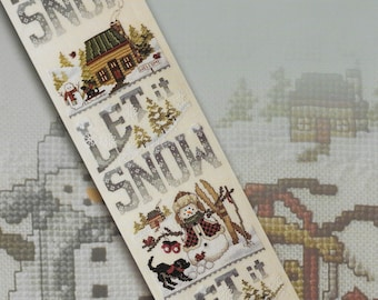 Counted Cross Stitch Pattern, Let It Snow, Christmas Banner, Snowman, Winter Cabin, Cardinals, Christmas Decor, Stoney Creek, PATTERN ONLY