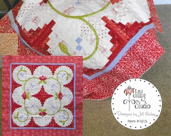 Quilt Pattern, Cabin Fever, Pieced and Appliqued Quilted Wall Hanging, Table Topper, Log Cabin, Bed Topper, Jillily Studio, PATTERN ONLY