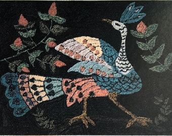 Punch Needle Pattern, One Glorious Bird, Folk Art, Whimsical, French Sentiments, Colorful Bird, Peacock, Kathy Barrick, PATTERN ONLY