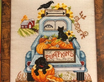 Counted Cross Stitch Pattern, Down Home Harvest, Fall Pumpkins, Pick-Up Truck, Black Cat, Autumn Decor, Crow, Stoney Creek, PATTERN ONLY