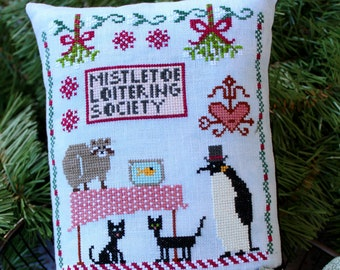 Counted Cross Stitch Pattern, Mistletoe Loitering Society, Christmas Decor, Ornament, Raccoon, Penguin, Cats, Lindy Stitches, PATTERN ONLY