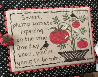 Counted Cross Stitch Pattern, Sweet Tomato, Cross Stitch Pattern, Summer Garden Sampler, Garden Decor, The Scarlett House, PATTERN ONLY