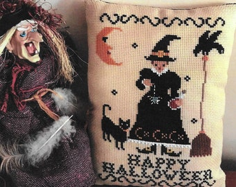 Counted Cross Stitch Pattern, Elixir, Halloween Decor, Witch, Black Cat, Broomstick, Spider, Primitive, Twin Peak Primitives, PATTERN ONLY