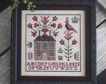 Counted Cross Stitch Pattern, Sampler House II, Primitive Decor, Partridge, Floral Vine, Rustic Decor, Plum Street Samplers, PATTERN ONLY