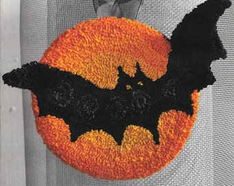 Punch Needle Pattern, Halloween Bat, Halloween Decor, Full Moon, Black Bat, Halloween Bat, French Sentiments, Kathy Barrick, PATTERN ONLY