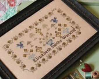 Counted Cross Stitch, Bluebird of Happiness, Elizabeth Smiths Work 1821, Reproduction Sampler, 1897 Schoolhouse Samplers, PATTERN ONLY