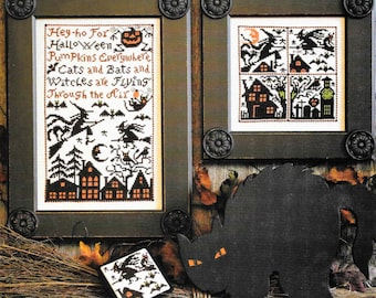 Counted Cross Stitch, Cats, Bats and Witches, Cross Stitch Patterns, Halloween, Halloween Decor, The Prairie Schooler,  PATTERN ONLY