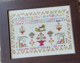 Counted Cross Stitch Pattern, Catherine Jessie White 1891, Reproduction Sampler, From the Heart, NeedleArt by Wendy, PATTERN ONLY