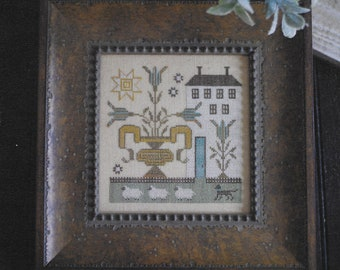 Counted Cross Stitch Pattern, Sampler House I, Primitive Decor, Flower Urn, Sheep, Rustic Decor, Plum Street Samplers, PATTERN ONLY