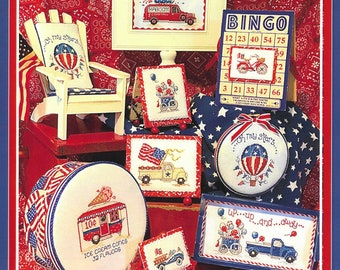 Counted Cross Stitch Pattern, Home for the Picnic, Summer, Patriotic, Ornaments, Pick Up Truck, Ice Cream, Sue Hillis Designs, PATTERN ONLY