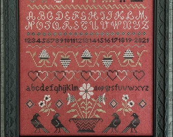 Counted Cross Stitch Pattern, Entwined Hearts, Sampler, Hearts Sampler, Black Crows, Strawberries, The Scarlett House, PATTERN ONLY
