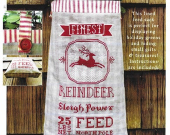 Counted Cross Stitch Pattern, Reindeer Feed Sack, Winter Decor, Christmas Decor, Redwork, Reindeer, Carriage House Samplings, PATTERN ONLY