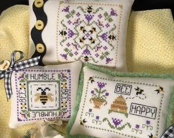 Counted Cross Stitch Pattern, Humble Bee, Bees, Bee Skep, Garden Decor, Pillow Ornaments, Bowl Fillers, Scissor Tail Designs, PATTERN ONLY