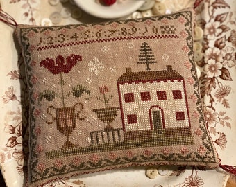 Counted Cross Stitch, First Snowfall Sampler Pinkeep, Winter Decor, Bowl Filler, Pillow Ornament, Stacy Nash Primitives