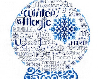 Counted Cross Stitch Pattern, Let's Be Frozen, Cross Stitch, Snow Globe, Winter, Snowflake, Imaginating, Ursula Michael, PATTERN ONLY