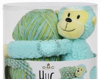Knit Pattern & Kit, DMC Hug This, Monkey Stuffed Animal, Baby Blanket Yarn, Yarn, Monkey, Baby Blanket Kit, Plush Toy, Variegated Yarn Kit