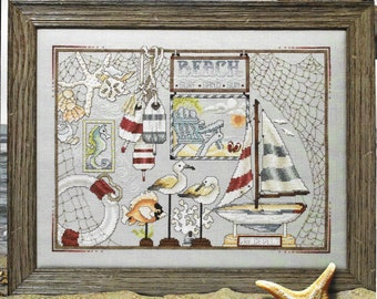 Counted Cross Stitch Pattern, Beach Bounty, Summer Decor, Starfish, Sea Horse, Sea Gulls, Sailboat, Sand Dollar, Stoney Creek, PATTERN ONLY