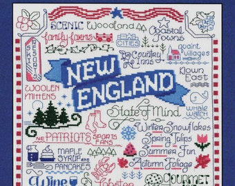 Counted Cross Stitch Pattern, Let's Visit New England, Cross Stitch, Patriots, Whale Watch, Imaginating, Ursula Michael, PATTERN ONLY