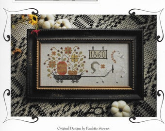Counted Cross Stitch Pattern, Harvest Delivery, Fall Decor, Pumpkins, Primitive Decor, White Horse, Plum Street Samplers, Pattern Only