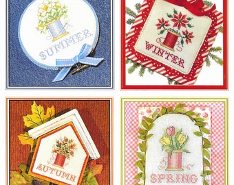 Softcover Book, Finishing Made Easy, Counted Cross Stitch Pattern, Seasons, Finishing Tutorials, Sue Hillis Designs, PATTERN ONLY