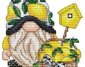 Counted Cross Stitch Pattern, Lemon Gnome, Lemons, Basket, Birdhouse, Summer Decor, Garden Gnome, Les Petites Croix de Lucie, PATTERN ONLY
