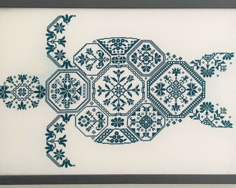 Counted Cross Stitch Pattern, Quaker Turtle, Beach Decor, Quaker Sampler, Quaker Motifs, Quaker Fantasies, Aquatic, AuryTM, PATTERN ONLY