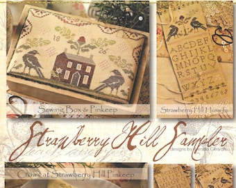 Counted Cross Stitch Pattern, Strawberry Hill Sampler, Cross Stitch, Sewing Box, Sewing Accessories, Huswife, Brenda Gervais, PATTERN ONLY