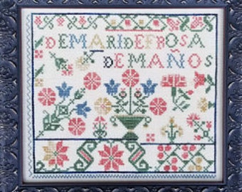 Counted Cross Stitch, Spanish Rose Sampler, Sampler, Summer Decor, Antique Sampler, Reproduction Sampler, Liz Mathews, PATTERN ONLY