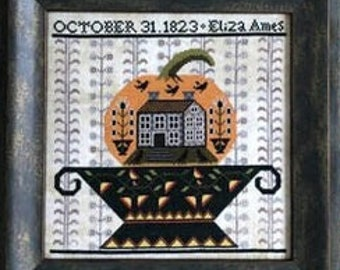 Counted Cross Stitch Pattern, Jack's Urn, Halloween Sampler, Eliza Ames 1823, Urn, Pumpkin, Witches, Crows, Kathy Barrick, PATTERN ONLY