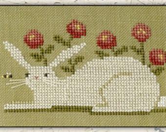 Counted Cross Stitch Pattern, Bunny & Bee, Spring Decor, Bunny Rabbit, Bee, Folk Art, Easter, Primitive Decor, Teresa Kogut, PATTERN ONLY