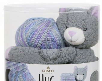 Knit Pattern & Kit, DMC Hug This, Kitten Stuffed Animal, Baby Blanket Yarn, Kitten, Baby Blanket Kit, Plush Toy, Variegated Yarn Kit