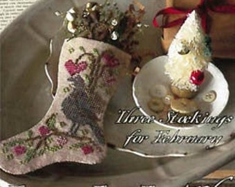 Counted Cross Stitch Pattern, Love Is In the Air, Valeting Stockings, Stocking Ornaments, Valentine's Day, Blackbird Designs, PATTERN ONLY