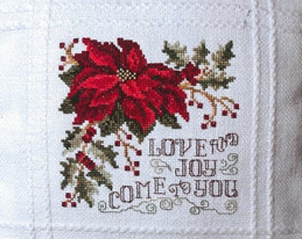 Counted Cross Stitch Pattern, Love & Joy, Christmas Pillow, Poinsettia, Christmas Hymn, Christmas Decor, Stoney Creek, PATTERN ONLY