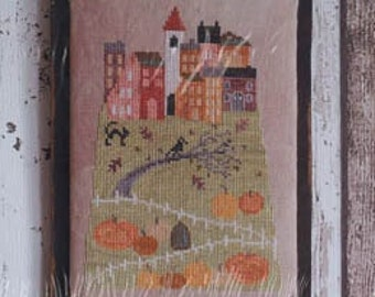 Counted Cross Stitch Pattern, Hilltop Village in Fall, Saltbox, Village Scene, Pumpkins, Autumn Decor, Crow, Cat, Thistles, PATTERN ONLY