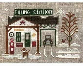 Counted Cross Stitch Pattern, Filling Station, Hometown Holiday, Ornament Pillow, Christmas Ornament, Little House Needleworks, PATTERN ONLY