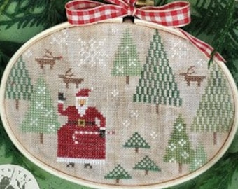 Counted Cross Stitch Pattern, Santa's Tree Farm, Christmas, Santa, Reindeer, Snowflakes, Primitive Decor, Brenda Gervais, PATTERN ONLY