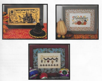 Counted Cross Stitch Pattern, Celebrate, Halloween, Thanksgiving, Christmas, Holiday Decor, Witch Hat, The Stitching Parlor, PATTERN ONLY