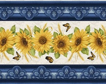 Quilt Fabric, Sunflower Stripe, Accent on Sunflowers, Butterflies, Quilters Cotton, Blender Fabric, Jackie Robinson, Animas Quilts, Benartex