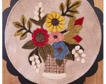 Wool Applique Pattern, A Round the Year, May, Wool Wallhanging, Floral Bouquet, Flowers, Primitive, Wool Mat, Sew Cherished, PATTERN ONLY