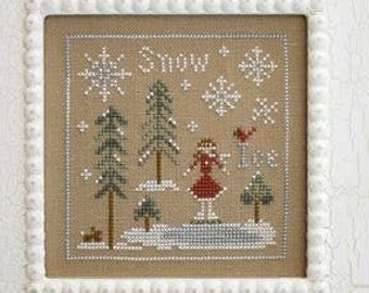 Counted Cross Stitch Pattern, Snow and Ice, Christmas Ornament, Winter Decor, Cardinals, Christmas, Little House Needleworks, PATTERN ONLY